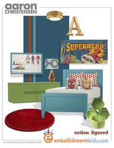 Superhero Boy's Room Mood Board- Transitional style adding color wow with the POW. Personalized Superhero Comic Style Wall Art by Aaron Christensen