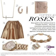 Rose gold is the hottest trend in metallic finishes and provides a warm glow that flatters all skin tones. Just Jewelry has several rose gold pieces that will be sure to leave a lasting impression everywhere you go! (N-011025 $20; E-011201 $21; B-010210 $22; W-011202 $34; R-009002 $19) #justjewelry #jewelry #fashionjewelry #necklaces #rings #bracelets #watches #earrings #rosegold #accessories #fashionaccessories