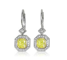 Dazzling Yellow Diamond Earrings with Halo. #YellowDiamondEarrings