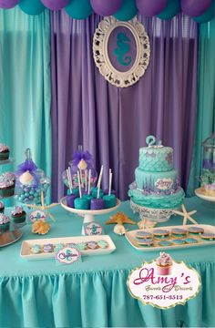 Mermaid Theme Birthday, Little Mermaid Birthday, Little Mermaid Parties, Frozen Birthday Party, Birthday Parties, Eid Party, Mermaid Baby Showers, Baby Girl Shower Themes, Birthday Party Decorations