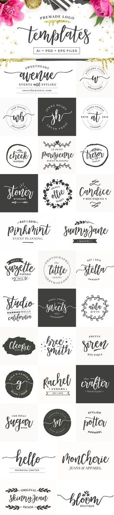 Mademoiselle + LOGO KIT & Extras! Premade logo set for blogs and websites... #premadelogos