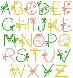 Christmas Gift Alphabet More Hand Lettering Alphabet, Doodle Lettering, Creative Lettering, Lettering Styles, Cute Fonts Alphabet, Graffiti Alphabet, Alphabet Letters, Bullet Journal Font, Journal Fonts