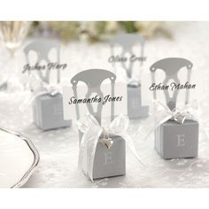 Miniature Silver Chair Favour Box & Place Card Holder with Ribbon & Silver Heart