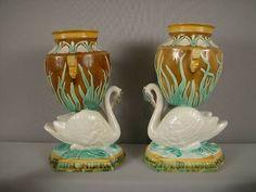 Majolica Pair of swan and bullrush figural vases