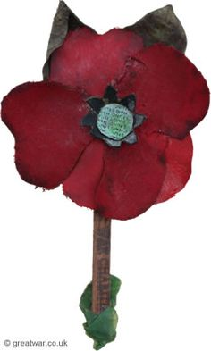 "In Flanders Fields by John McCrae, May 1915  "" Flanders fields the poppies blow Between the crosses, row on row, That mark our place; and in the sky The larks, still bravely singing, fly Scarce heard amid the guns below....."""