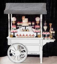 Allow me to introduce to you THE Mon Délice Dessert Cart! This beauty made its debut over the weekend and it was a total hit! Won't you just love this fully customizable cart to be featured at your wedding/event? Email or call to book! Ice Cream Theme, Ice Cream Party, Dessert Stand, Dessert Table, Candy Booth, Sweet Carts, Craft Booth Displays, Candy Cart, Coffee Carts