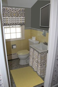 Bathroom Yellow And Gray working with ugly yellow tile, fresh paint, cleaning grout, take