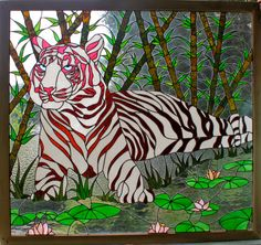 "Cranberry Red Stained Glass Tiger  ""Crantiger"""