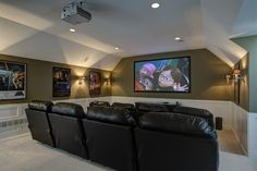 Relax in this home theater design equipped with a projector screen! #basement #hometheater