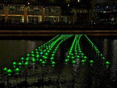 300 Illuminated Boats in Canary Wharf by Aether & Hemera