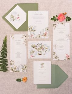 Pastel floral invitation with map of Bali