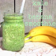 {Kale & Banana Smoothie}  1 small banana 1/2 cup frozen kale 1/2 cup nonfat Greek yogurt 1/4 cup skim milk (or milk alternative) 2 tbsp unsweetened apple sauce, 1 1/2 tbsp chia seeds 1/4 tsp cinnamon 1/2 tsp vanilla extract 1 cup crushed ice  #kale #KaleSmoothie #smoothie #smoothies #healthyfood #recipe