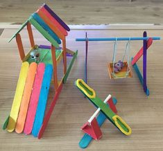 DIY Barbie House from a shelf Popsicle Stick Crafts For Kids, Popsicle Stick Houses, Fun Crafts For Kids, Diy Home Crafts, Doll Crafts, Craft Stick Crafts, Diy For Kids, Activities For Kids, Paper Crafts