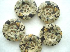 25mm Wood Buttons with Black Grey Cream Flower by berrynicecrafts