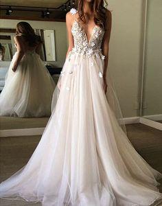 unique v neck light champagne tulle long prom dress, champagne evening dress, wedding dress
