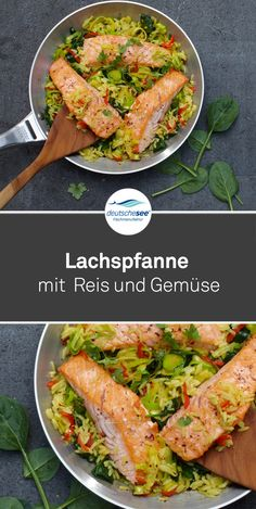 Sometimes it just has to be fast - our salmon pancake with rice & vegetables is .- Manchmal muss es eben schnell gehen – unsere Lachspfanne mit Reis & Gemüse ist … Sometimes it just has to be fast – our salmon pans … - Salmon Recipes, Rice Recipes, Lunch Recipes, Seafood Recipes, Salmon And Rice, Grilled Salmon, Slow Cooker Recipes, The Best, Healthy Snacks