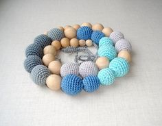 Nursing  Teething necklace Grey blue by MiracleFromThreads on Etsy, $41.00