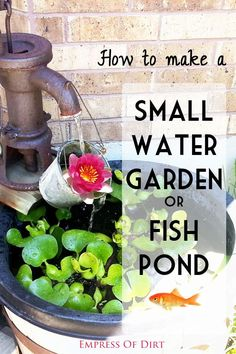 How to make a small water garden or fish pond to use on your patio or garden. These are a great way to attract birds, bees, and other beneficial insects to pollinate your flowers. #spon