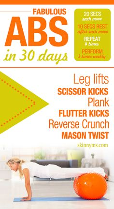 Fabulous Abs in 30 Days Challenge  This is a TABATA style workout,  20 seconds on,  10 seconds off... not easy,  but super effective!