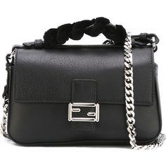 Fendi micro 'Double Baguette' crossbody bag (87,640 DOP) ❤ liked on Polyvore featuring bags, handbags, shoulder bags, black, leather handbags, leather cross body handbags, fendi crossbody, fendi purse and leather crossbody