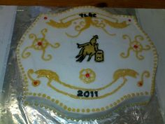 Barrel Racing Buckle Cake - Barrel racing buckle cake done for a playday awards ceremony!