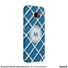 Diagonal Checks with Custom Monogram Samsung Galaxy S6 Cases