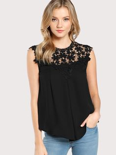 4ee406eace01 All Elegant Plain Top Regular Fit Round Neck Sleeveless Black Keyhole Back  Daisy Lace Shoulder Shell