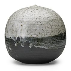 "TOSHIKO TAKAEZU (1922-2011)Large glazed stoneware Moonpot with rattle, monochrome drip glaze, Clinton, NJ; Signed TT; 9"" x 8 1/2"""