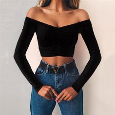 Sweetheart Crop Top Elegant Off Shoulder Crop Tops Women 2019 Autumn Black Red Stretch Slim T-shirt Top Fashion Party Casual Tee Shirt Mujer - college outfits Crop Top Outfits, Cute Casual Outfits, Sexy Outfits, Summer Outfits, Black Crop Top Outfit, Black Off Shoulder Top Outfit, Party Outfit Casual, Long Sleeve Outfits, Off Shoulder Shirt