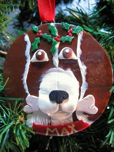 Dog With Holly Leaves And Berries Christmas Ornament Polymer Clay | Wyverndesigns - Seasonal on ArtFire