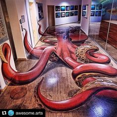 I love this!!! Repost @awesome.arts  Amazing 3D art!  Comment octopus in your language  Artist: @motorize_art  @bonsoy1  @ozcanbirgi  Photo via @lollybulll #octopus #3dart #tromploeil # #badgirlbarware