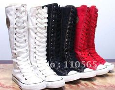 PUNK EMO Canvas Boots Sneaker Women Girl's Shoes Knee High Lace UP Boots Pick Size and Color Free Shipping on AliExpress.com. $29.98