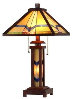 Chloe 'ALEXANDER' Tiffany-style Mission 3 Light Double Lit Wooden Table Lamp 15' Shade