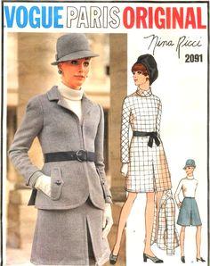 1960s NINA RICCI Dress and Jacket Pattern VOGUE Paris Original 2091 Mod Design Daytime or After 5 Size 8 Vintage Sewing Pattern UNCUT