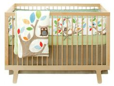 The Treetop Friends is a beautiful nature themed crib bedding set that will transform the nursery into a quiet outdoors scene. It features soft and bold unisex colors and friendly owls on colorful trees. Set includes 100% cotton sateen comforter, 100% cotton bumper, 100% cotton crib sheet and cotton-linen blend crib skirt.