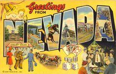 Greetings from #Nevada - vintage postcard