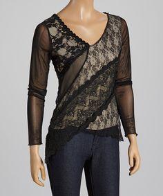Love this Black & Ivory Patchwork Lace V-Neck Top by Radzoli on #zulily! #zulilyfinds