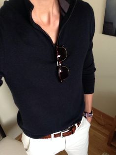 Spring / Summer - Fall / Winter - street style - casual style - beach style - navy or black zip up sweater + brown belt + white chinos + black sunglasses