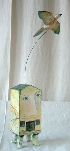 """Go I must"" ~ Mixed media sculpture by Kathleen Stoltzfus"