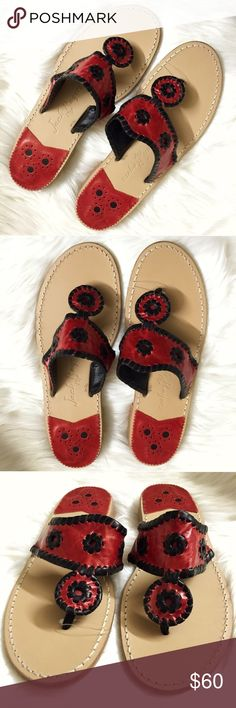 Jack Rogers Navajo Whipstitch Black & Red Sandals Brand new WITHOUT tags or box, women's size 9. These Jack Rogers Navajo Whipstitch Garnet Red & Black Leather Sandals are stunning! Whipstitched trim detail with a hand laced style, crafted from soft leather. Beautiful garnet red & black colorway. Has the size in very small writing on the sole. Perfect foe the spring & summer weather! Looks great paired with jeans or a dress! Retails for $118! Jack Rogers Shoes Sandals
