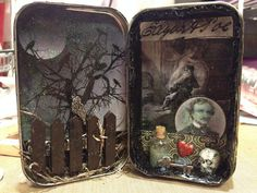 This group is to post pictures of any altered art in some sort of metal container.metal mint container (like an Altoid container), tin can, sardine container basically any container that is metal in any shape that contains altered art inside of it! Halloween Shadow Box, Halloween Cards, Halloween Diy, Halloween Decorations, Altered Cigar Boxes, Altered Tins, Altered Art, Handmade Headbands, Handmade Crafts