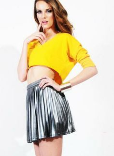 Mellow Yellow Sweater Crop Top #Yellow #Sweater #Croptop #threequarter #Sleeves #ustrendy