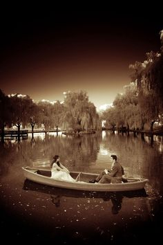 WEDDINGS – norrisphoto  #norrisphoto Infrared wedding photography. Beautiful scenic imagery. Bride and groom on a rowboat in a lake. Sepia toned photos. Unique wedding portraits locations.