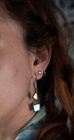Earrings made of golden-blue tiles Blue Tiles, Earrings Handmade, Diamond Earrings, Triangle, Jewelry, Fashion, Moda, Jewlery, Jewerly