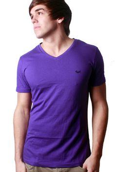 Purple V Neck Plain T-shirt | Clothing for men