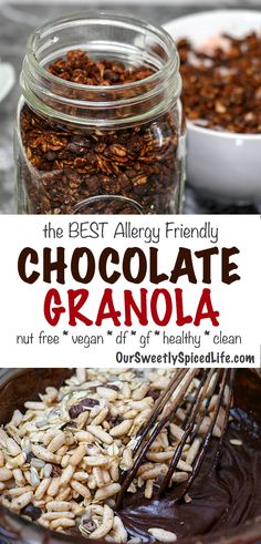 Make an easy vegetarian breakfast with this healthier classic chocolate granola recipe idea. We wanted a more allergy friendly chocolate granola, so this healthy granola is gluten free, nut free, and dairy free! Made without refined sweeteners, this homemade chocolate granola recipe makes for a truly delicious and clean eating breakfast. Lucky for all of is, it's a super easy to make this granola, and I snack on it all day! #granola #cacao #chocolate #plantbased #vegan #healthybreakfast