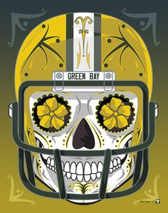 """""""Green Bay Packers"""" Sugar Skull Day of the Dead Calavera Print Inspired by the professional football team"""