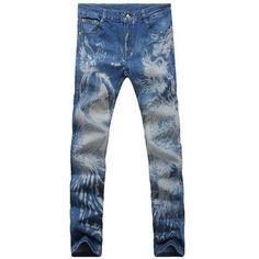 Casual Zip Fly Dragon Printed Denim Pants For Men