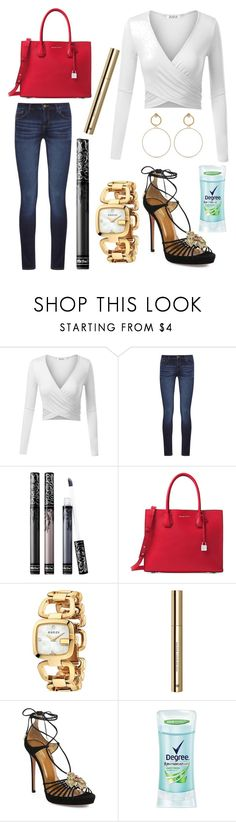 """""""Untitled #11544"""" by ohnadine ❤ liked on Polyvore featuring DL1961 Premium Denim, Kat Von D, Michael Kors, Gucci, H&M, Aquazzura, Degree and Maria Francesca Pepe"""