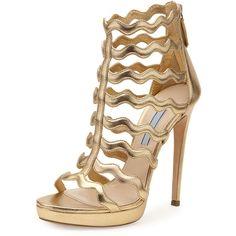 Prada Metallic Wavy-Strap High-Heel Sandal ($1,170) ❤ liked on Polyvore featuring shoes, sandals, heels, quarzo, prada sandals, metallic shoes, heeled sandals, high heel shoes and strappy sandals